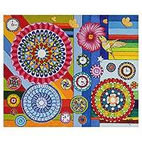 'The Time' - Colorful Mandala Motif Naif Painting from Brazil