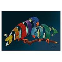 Print, 'Couple of Parakeets' - Signed Surrealist Print of Two Parakeets from Brazil