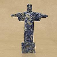 Sodalite gemstone statuette, 'Offering Redemption' - Natural Sodalite Christ the Redeemer Gemstone Statuette
