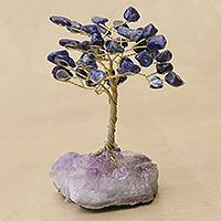Sodalite gemstone tree, 'Blue Leaves' - Sodalite Gemstone Tree with an Amethyst Base from Brazil