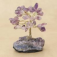 Amethyst gemstone tree, 'Regal Leaves' - Amethyst Gemstone Tree Crafted in Brazil