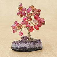 Agate gemstone tree, 'Cute Leaves' - Pink Agate Gemstone Tree with an Amethyst Base from Brazil