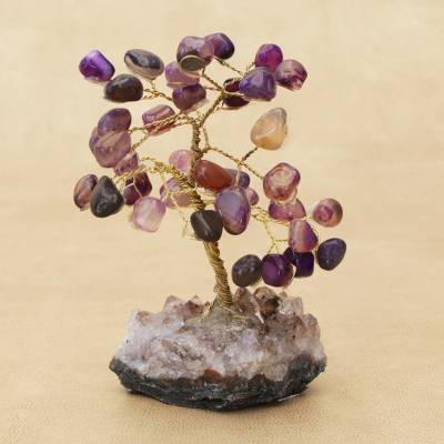 Agate gemstone tree, 'Mystical Leaves' - Agate Gemstone Tree with an Amethyst Base from Brazil