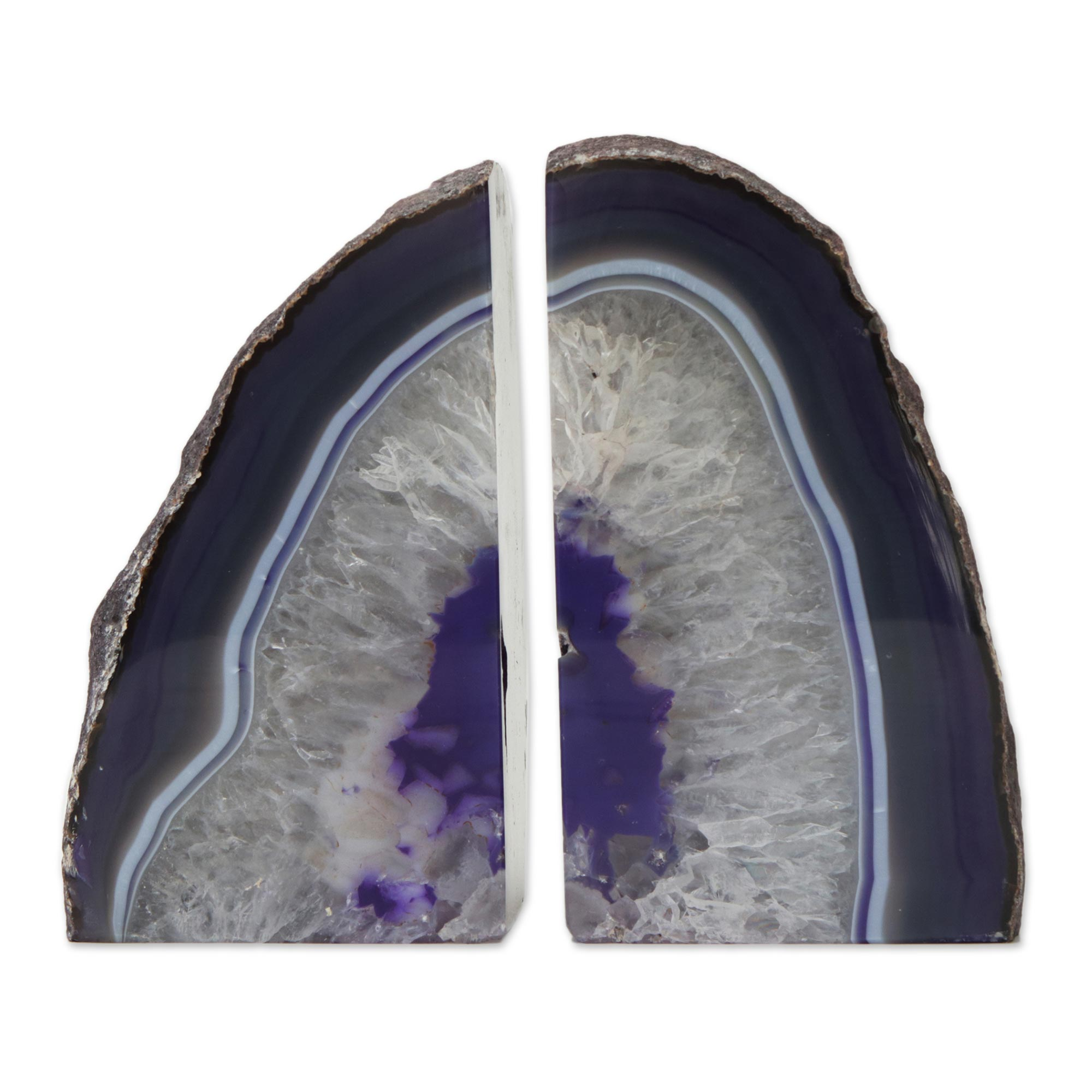 Unicef Market Agate Geode Bookends With A Purple Core From Brazil Regal Crystal