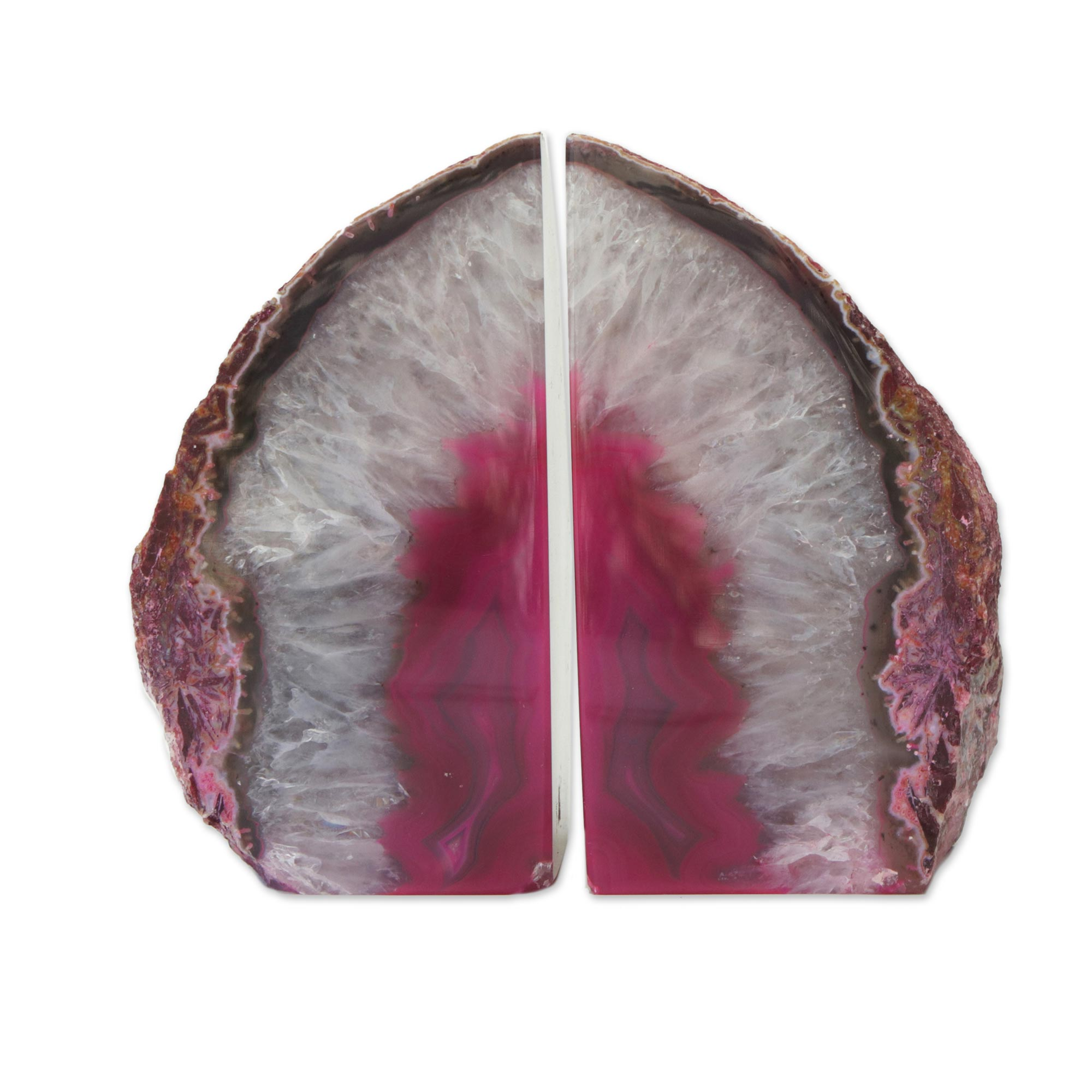 Unicef Market Agate Geode Bookends With A Pink Core From Brazil Lovely Crystal