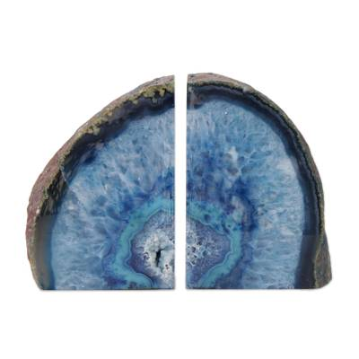 Blue Agate Geode Bookends Crafted In Brazil Blue Crystal Novica