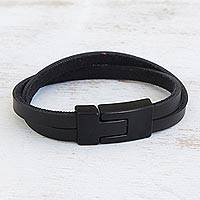 Faux leather wristband bracelet, 'Bold Overlap in Black' - Modern Faux Leather Wristband Bracelet with a Black Clasp