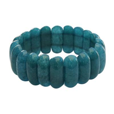 Blue-Green Jade Beaded Stretch Bracelet from Brazil