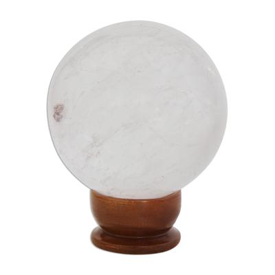 Quartz sculpture, 'Crystal Depths' - Polished Translucent Quartz Sphere on Wood Base Sculpture