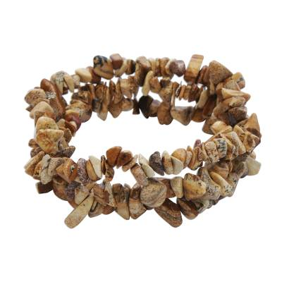 Earthen Jasper Beaded Stretch Bracelets (Set of 3)