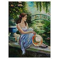 'Garden of Nymphs' - Signed Impressionist Painting of a Girl in a Garden