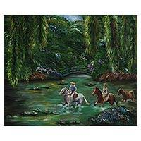 'Drovers Way' - Signed Impressionist Painting of Brazilian Drovers