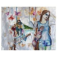 'Rock in Copacabana' - Signed Expressionist Painting Inspired by Rock Music