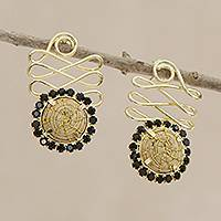 Gold plated golden grass drop earrings, 'Winding Journey in Black' - Gold Plated Golden Grass Earrings with Black Glass Beads