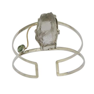 Gold-Accented Prasiolite and Peridot Cuff Bracelet