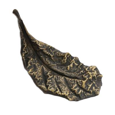 Signed Bronze Almond Leaf Sculpture from Brazil (5 Inch)