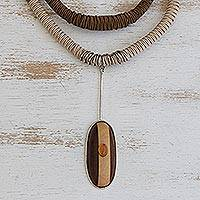 Citrine and wood pendant necklace, 'Natural Intrigue' - Citrine and Wood Pendant with Sterling Silver Cord Necklace