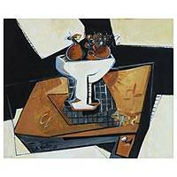 'Table with Fruit' - Cubist Still Life Painting of a Bowl with Fruit from Brazil