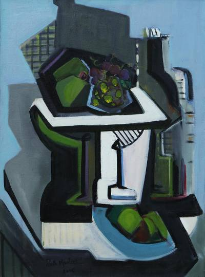 'Bottles and Fruit' - Signed Cubist Still Life Painting in Blue from Brazil