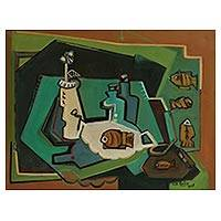 'Refinement I' - Signed Fish-Themed Cubist Still Life Painting from Brazil