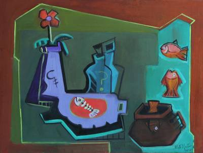 'Refinement II' - Green and Brown Cubist Still Life Painting from Brazil