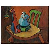 'Appointment' - Signed Cubist Still Life Painting from Brazil