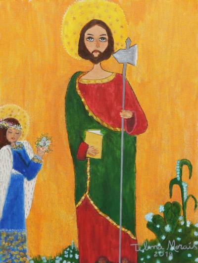 'Saint Jude Thaddeus' - Signed Naif Painting of Saint Jude from Brazil