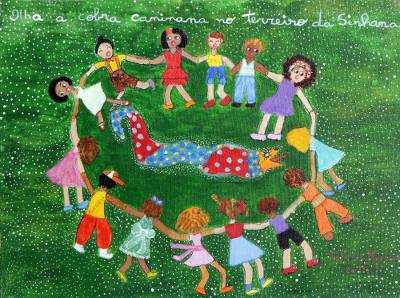 'Look at the Snake' - Naif Painting of a Childhood Game from Brazil