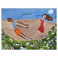 'Corrupio' - Signed Naif Painting of Two Children from Brazil