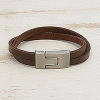 Men's faux leather wristband bracelet, 'In the Mix in Brown' - Men's Brown Faux Leather Brushed Steel Wristband Bracelet
