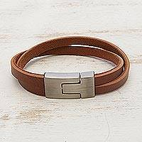 Men's faux leather wristband bracelet, 'In the Mix in Tan' - Men's Caramel Brown Faux Leather Steel Wristband Bracelet