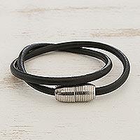Men's leather wrap bracelet, 'Double Attraction' - Men's Black Leather Cord Wrap Bracelet Steel Magnetic Clasp