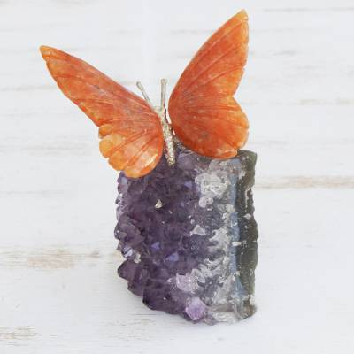 Calcite and amethyst gemstone sculpture, 'Orange Wings' - Orange Calcite and Amethyst Butterfly Gemstone Sculpture