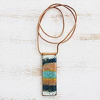 Glass and leather pendant necklace, 'Layers of Ocean' - Blue and Brown Glass and Leather Pendant Necklace