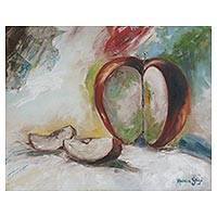 'Love in Pieces' - Signed Still Life Painting of an Apple from Brazil