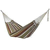 Cotton hammock, 'Subdued Stripes' (double) - Striped Cotton Double Hammock Crafted in Brazil