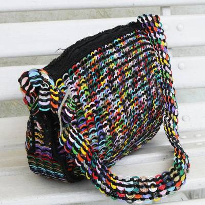 Recycled aluminum pop-top hobo handbag, 'Colorful Scale' - Upcycled Soda Pop-Top Hobo Bag from Brazil
