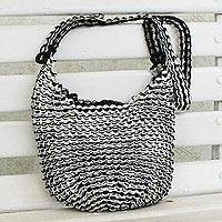 Recycled aluminum pop-top hobo handbag, 'Gleaming Companion' - Recycled Aluminum Pop-Top Hobo Handbag from Brazil