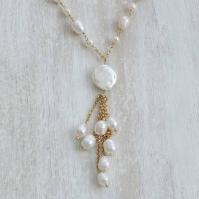 Gold plated cultured pearl pendant necklace, 'Multitude Glow' - Cultured Pearl Link-Style Pendant Necklace from Brazil