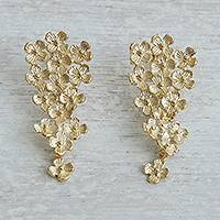 Gold plated brass drop earrings, 'Lively Bouquet' - Floral Gold Plated Brass Drop Earrings from Brazil