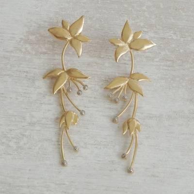 Rhodium accented gold plated brass drop earrings, 'Petal Cascade' - Floral Rhodium Accented Gold Plated Brass Drop Earrings