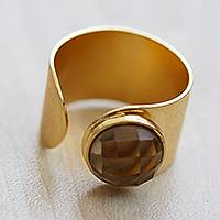 Gold plated smoky quartz wrap ring, 'Glittering Magnitude' - Gold Plated Smoky Quartz Wrap Ring from Brazil