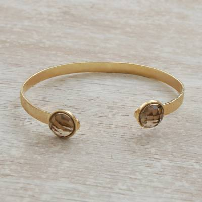 Gold plated smoky quartz cuff bracelet, 'Glittering Magnitude' - Gold Plated Smoky Quartz Cuff Bracelet from Brazil