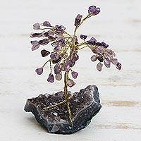 Amethyst gemstone sculpture, ' - Amethyst Gemstone Tree Sculpture from Brazil