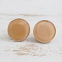 Fused glass button earrings, 'Silken Sand' - Beige Fused Glass Button Earrings