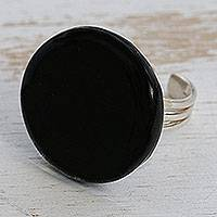 Glass cocktail ring, 'Gleaming Surface in Black' - Circular Glass Cocktail Ring in Black from Brazil