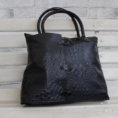 Leather shoulder bag, 'Alligator Chic' - Alligator Pattern Black Leather Shoulder Bag from Brazil