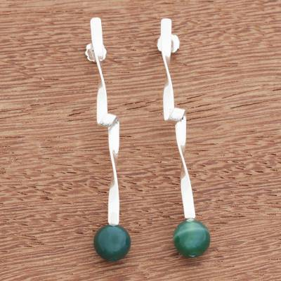 Agate drop earrings, 'Twisted Curves in Green' - Green Agate Modern Twisted Drop Earrings from Brazil
