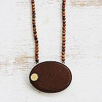 Gold accented sunstone and tiger's eye beaded pendant necklace, 'Sun Ellipse' - Gold Accented Sunstone and Tiger's Eye Pendnat Necklace