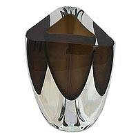 Art glass vase, 'Smoky Triangle' (8.5 inch) - Triangular Grey Art Glass Vase from Brazil (8.5 Inch)